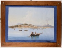 veduta di napoli dal mare con vesuvio sullo sfondo by g. corelli