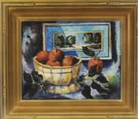 still life with apples and landscape painting by william arnold