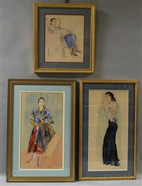 three portraits of catherene green arapoff by alexis paul arapov