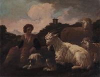junger hirte mit hund, ziege und schaf by philipp peter roos