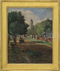 town street with wagon & church, rockport or gloucester by anthony thieme