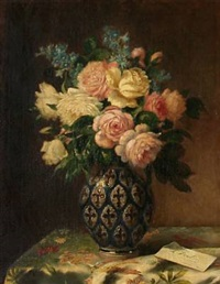 still life with flowers in a vase by lucien joulin