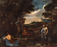 landscape with apoll and marsyas by nicolas poussin