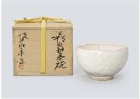 hagi white glaze tea bowl by deika sakata