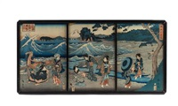 geishas in riverscape scene (triptych) (2 works) by ando hiroshige