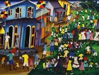 village street scene by castera bazile
