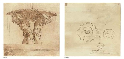 design for a fountain supported by two male nudes (+ further plans for a fountain, pen and ink, verso) by gian lorenzo bernini