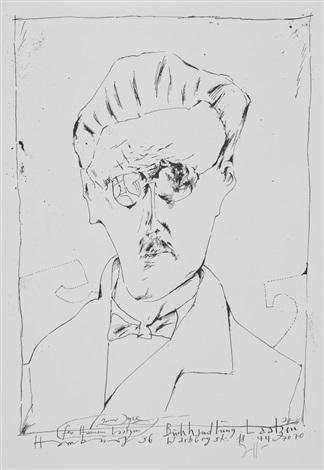 ritratto di edgar allan poe; ritratto di james joyce (2 works) by horst janssen