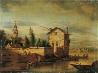 venezianisches capriccio. dörfer an der brenta by heinrich hirzel