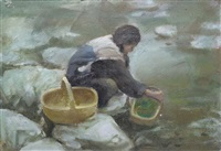 frau beim waschen am fluss by luo zhongli