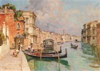 ansicht eines kanals in venedig mit gondeln by angelo brombo