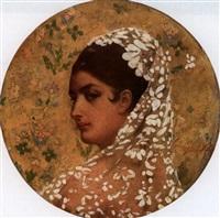 portrait einer jungen hübschen spanierin im profil von links mit besticktem kopftuch by georges becker