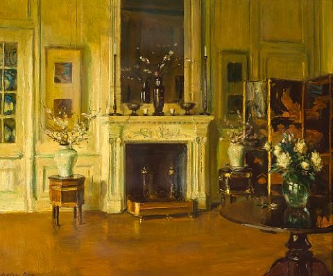 interior with fireplace by walter gay
