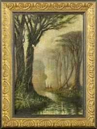 early morning view of cypress trees along the bayou with two fisherman in a pirogue by john antrobus