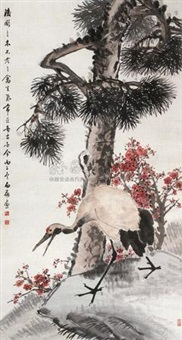 立轴 (pine and crane) by chen baihe