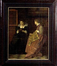 two women in a seventeenth century interior by c. bleuse