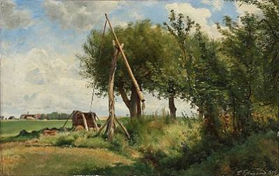 piletræer ved en vippebrønd, foraarsdag by carl frederik peder aagaard