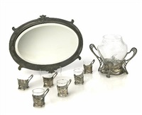 punch bowl and six cup frames (7 works) by austrian school (20)