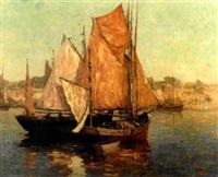harbor scene by marcel louis sauvaige