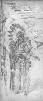 a woman in the costume of an indian chief with a flag and pennants by albert edel