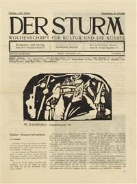 bewegtes leben / schalmei / sitzende mädchen / katze / felsen / holzschnitt für den sturm (aus: der sturm dritter jahrgang nummer 129 oktober 1912) (2 blatt (s. 157-160) der zeitschrift, mit 6) by wassily kandinsky