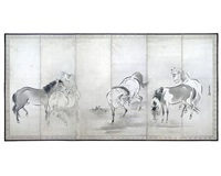 five horses (6-panel screen) by kano yasunobu