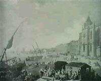 vue du couvent de st.jerome de belem, et de l'entree de la barre de lisbone by henri lévêque