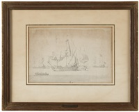 dutch ships at anchor off the coast by willem van de velde the elder
