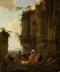 ruinencapriccio mit staffagefiguren by nicolaes berchem