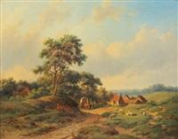 weite landschaft mit gehöft und ruhendem schafhirt by willem vester