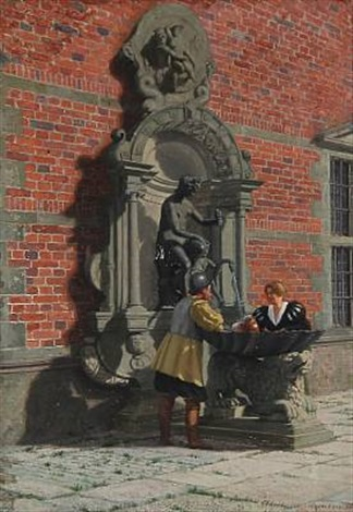 conversation at a fountain at frederiksborg castle square by adolf heinrich claus hansen
