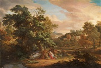 landscape with the rest on the flight to egypt by john van der vaart