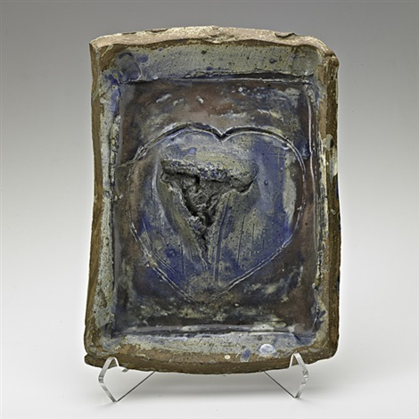 slab built plaque with heart by peter voulkos