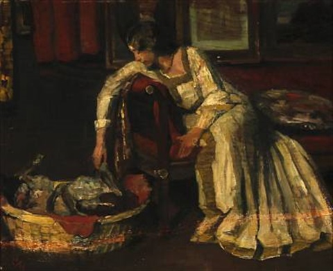 interior with a woman playing with a dog by herman albert gude vedel