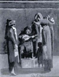strassenmusikanten mit zuhoerern by clarel neme