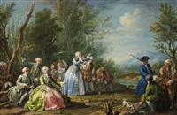a courtly hunting party with ladies by jacopo amigoni