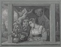 schnitter tod (auch amor und tod bzw. brautpaar) by hans thoma