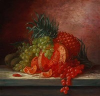 still life with pineapple, grapes and oranges by alfrida baadsgaard