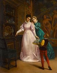 zwei junge damen und page by florent willems