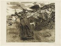 losbruch (aus: bauernkrieg) (1921) by käthe kollwitz
