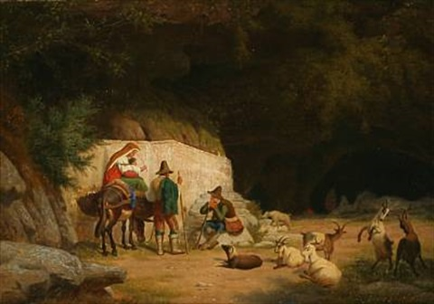 scene from italy with goat herders in conversation in front a cave by peter johann p raadsig