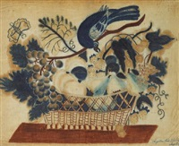 basket of flowers and a bird by angelina wood tattinger