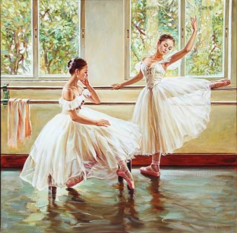 two ballet girls training by alexander akopov