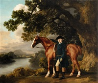 a gentleman in riding clothes standing beside a chestnut a hunter by george stubbs