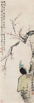 桃花鹦鹉 (peach blossom and parrot) by qi baishi and ma wanli