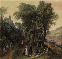 river landscape in the spring with castle and noblemen by lucas van valkenborch