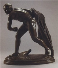 nude gladiator about to hurl his net by edme antony paul noël