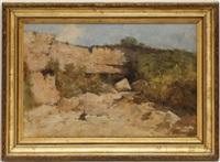 cascade dans la falaise by gustave eugène castan