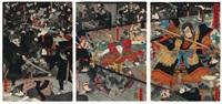 kumasaka youchi no zu - l'attaque nocturne de kumasaka (oban tate-e triptych) by utagawa yoshitora