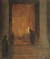 entering the cathedral at night by jacobus cornelis wyand cossaar